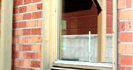 木製窓枠のDIY塗装前(ライトオーク色)