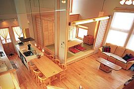 モダン和室のインテリア・部屋の配置・和室をキッチン横に配置